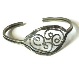 Artisan Made Bracelet Adjustable Silver Metal Cuff
